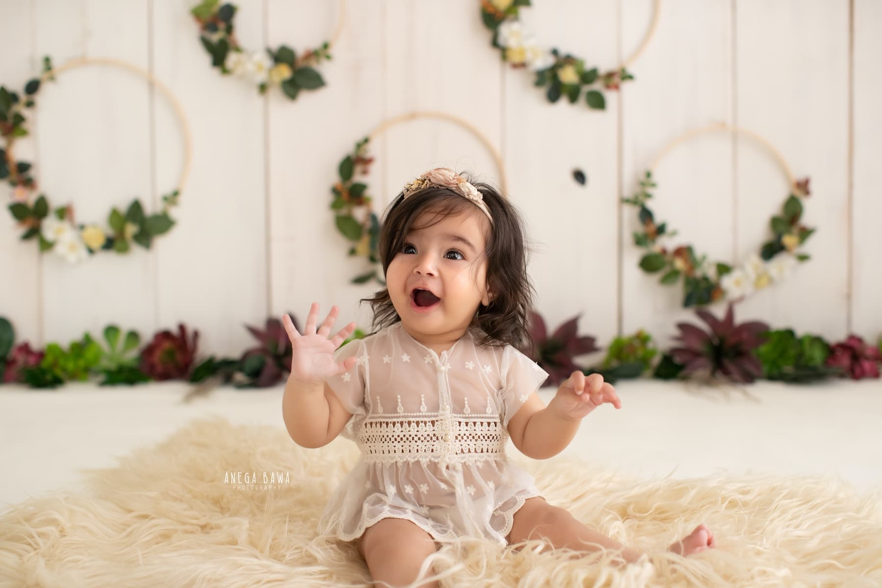 white floral sitter kids photography delhi 1 year baby girl photoshoot gurgaon anega bawa