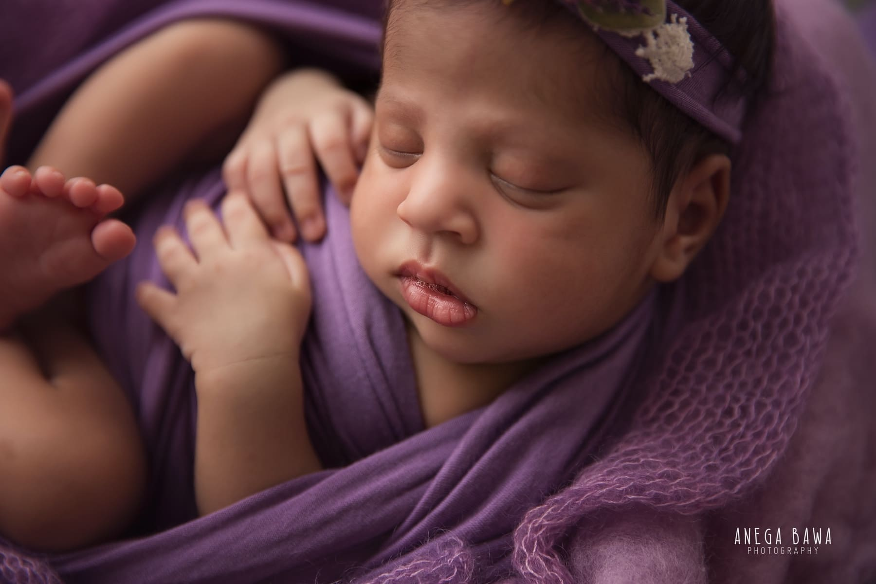 purple newborn photography delhi 14 days baby girl photoshoot gurgaon anega bawa