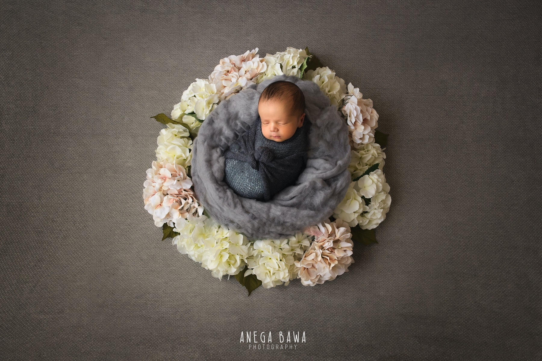 grey floral newborn photography delhi 11 days baby boy photoshoot gurgaon anega bawa