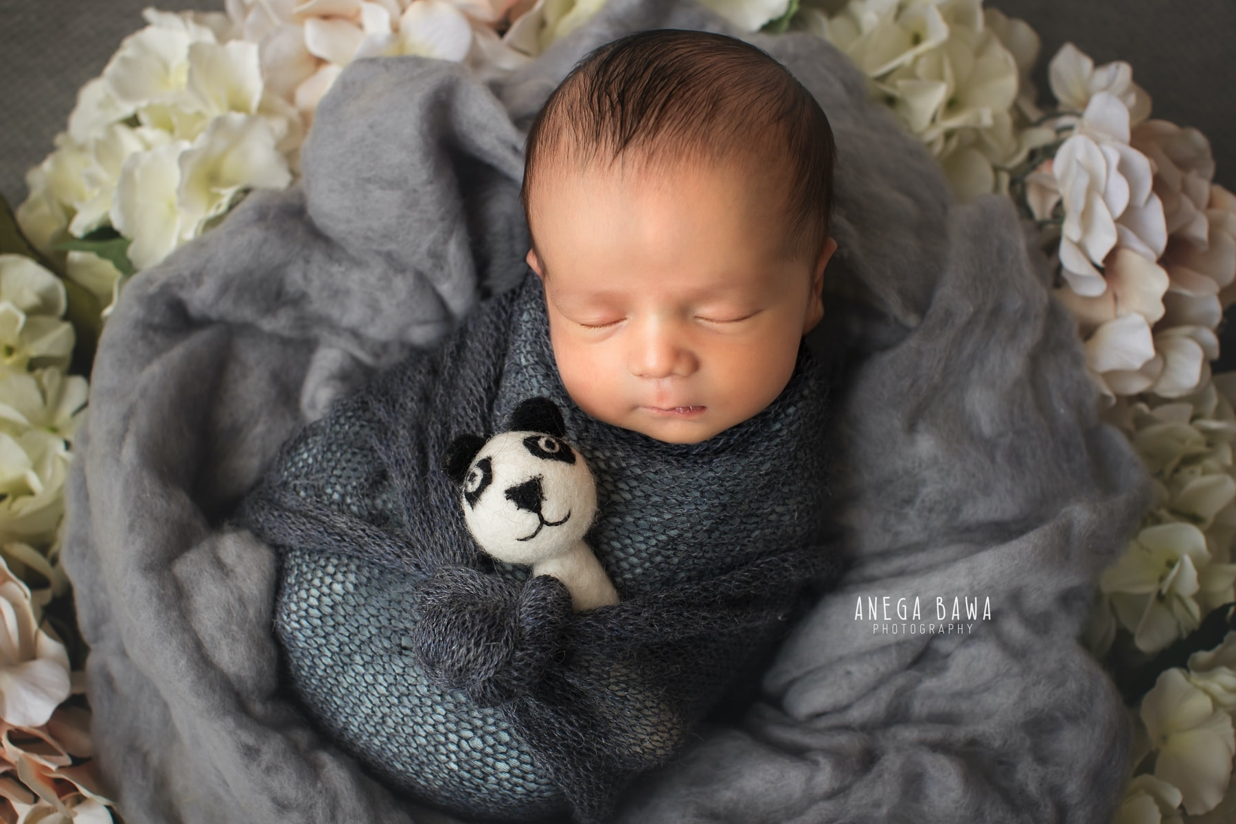 grey floral panda newborn photography delhi 11 days baby boy photoshoot gurgaon anega bawa