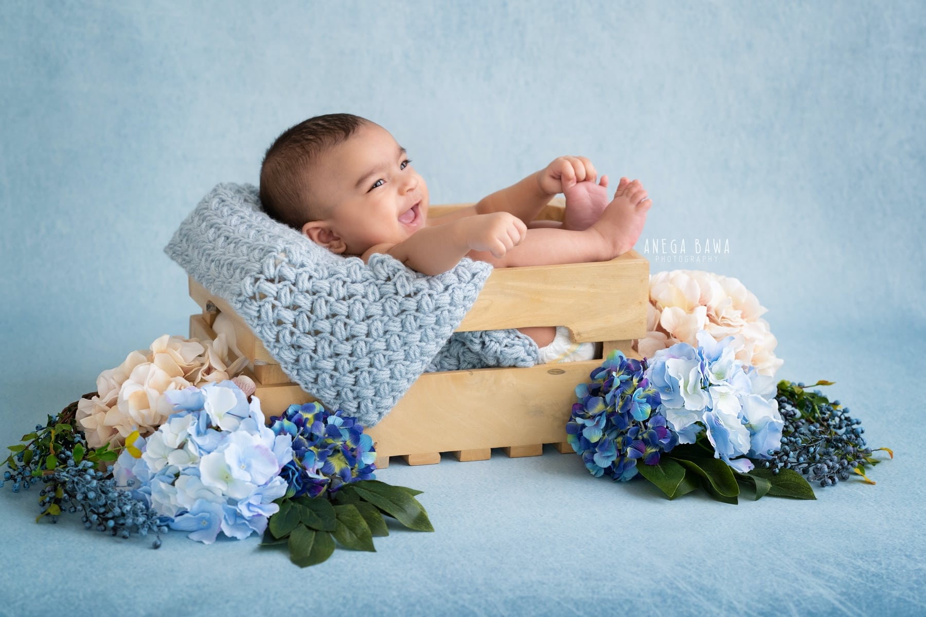 blue floral baby photography delhi 3 months baby boy photoshoot gurgaon anega bawa