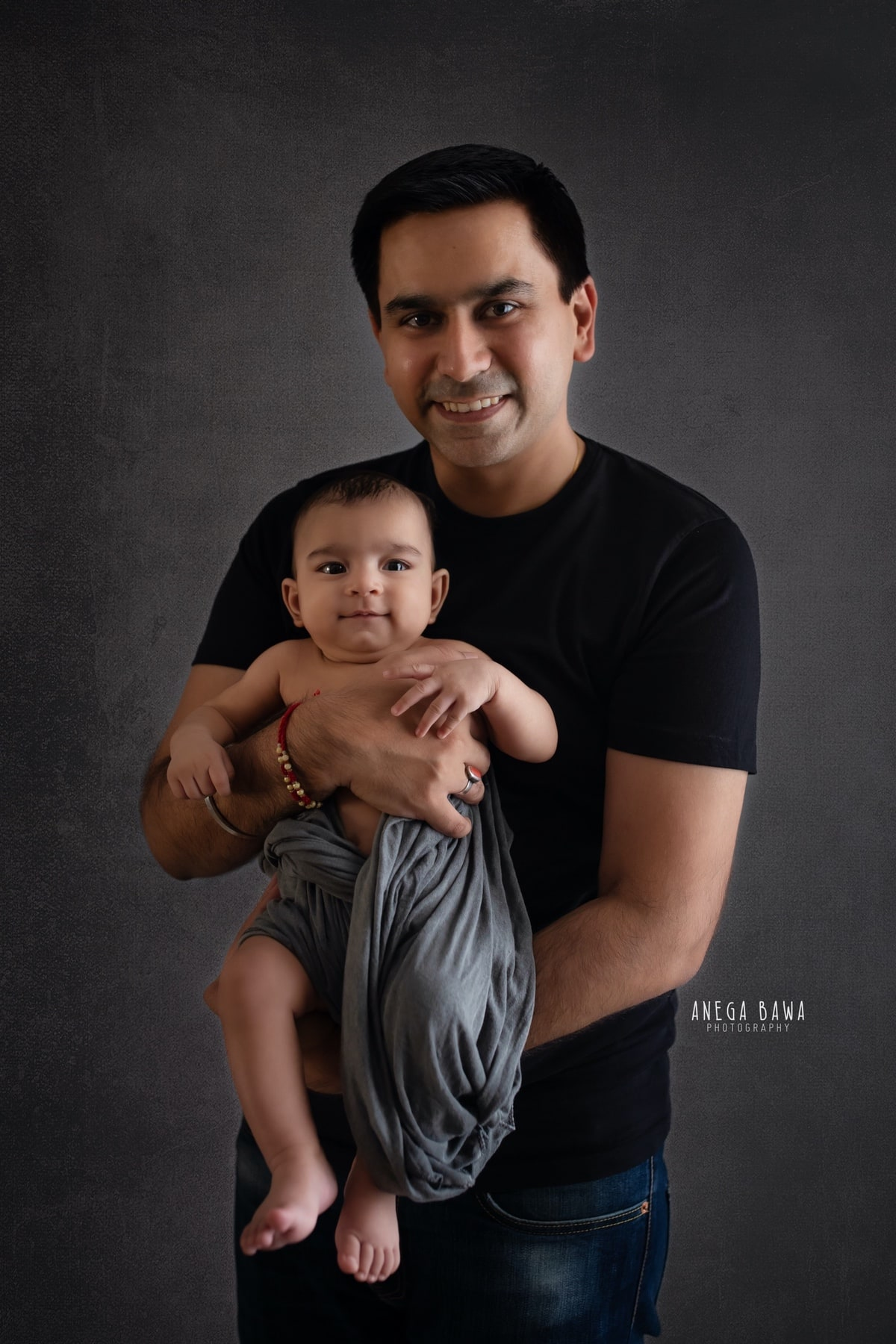 blue black father and baby photography delhi 3 months baby boy photoshoot gurgaon anega bawa