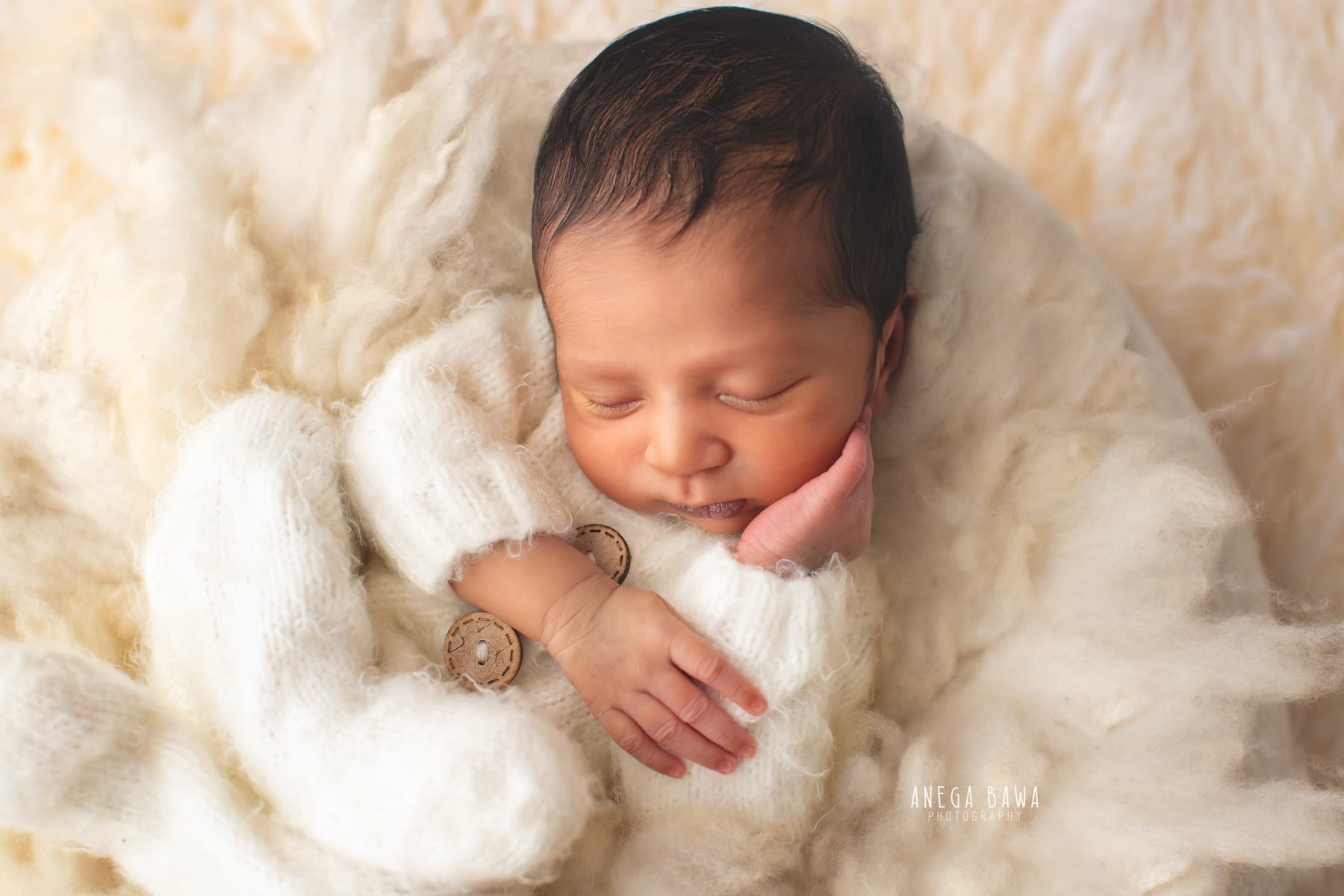 white fur newborn photography delhi 10 days baby boy photoshoot gurgaon anega bawa
