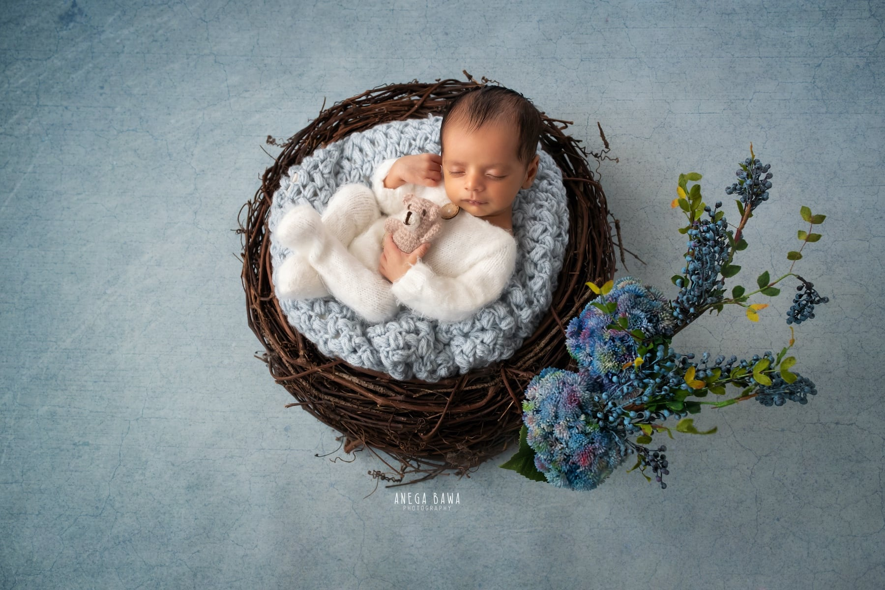blue floral newborn photography delhi 23 days baby boy photoshoot gurgaon anega bawa