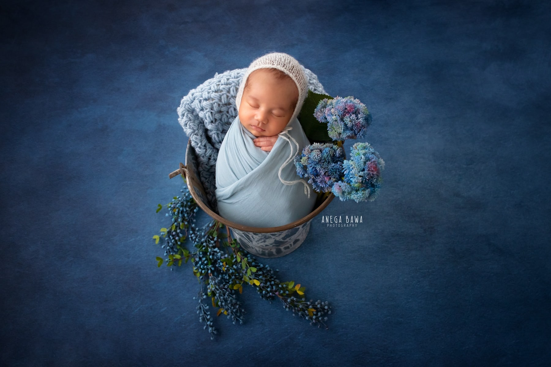 blue floral newborn photography delhi 11 days baby boy photoshoot gurgaon anega bawa