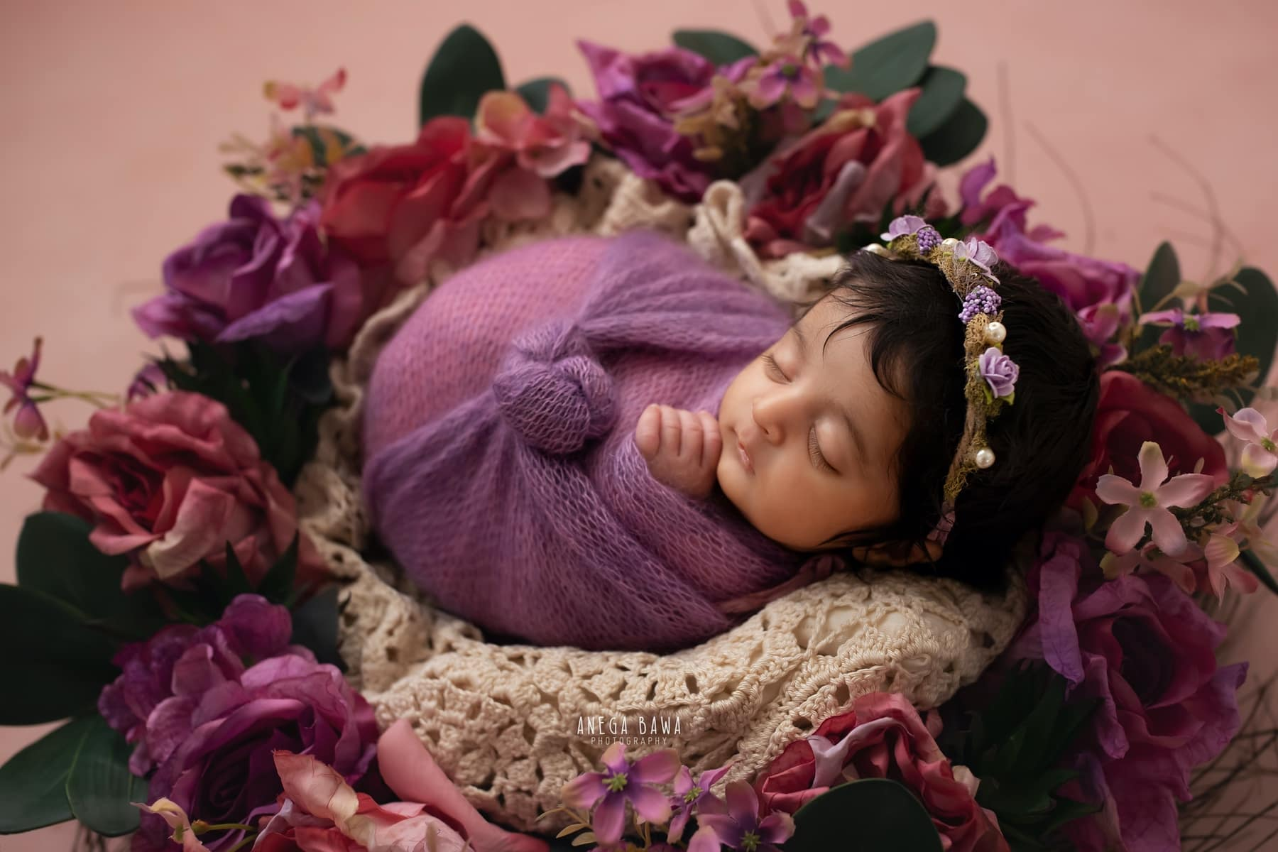 pink floral newborn photography delhi 9 days baby girl photoshoot gurgaon anega bawa