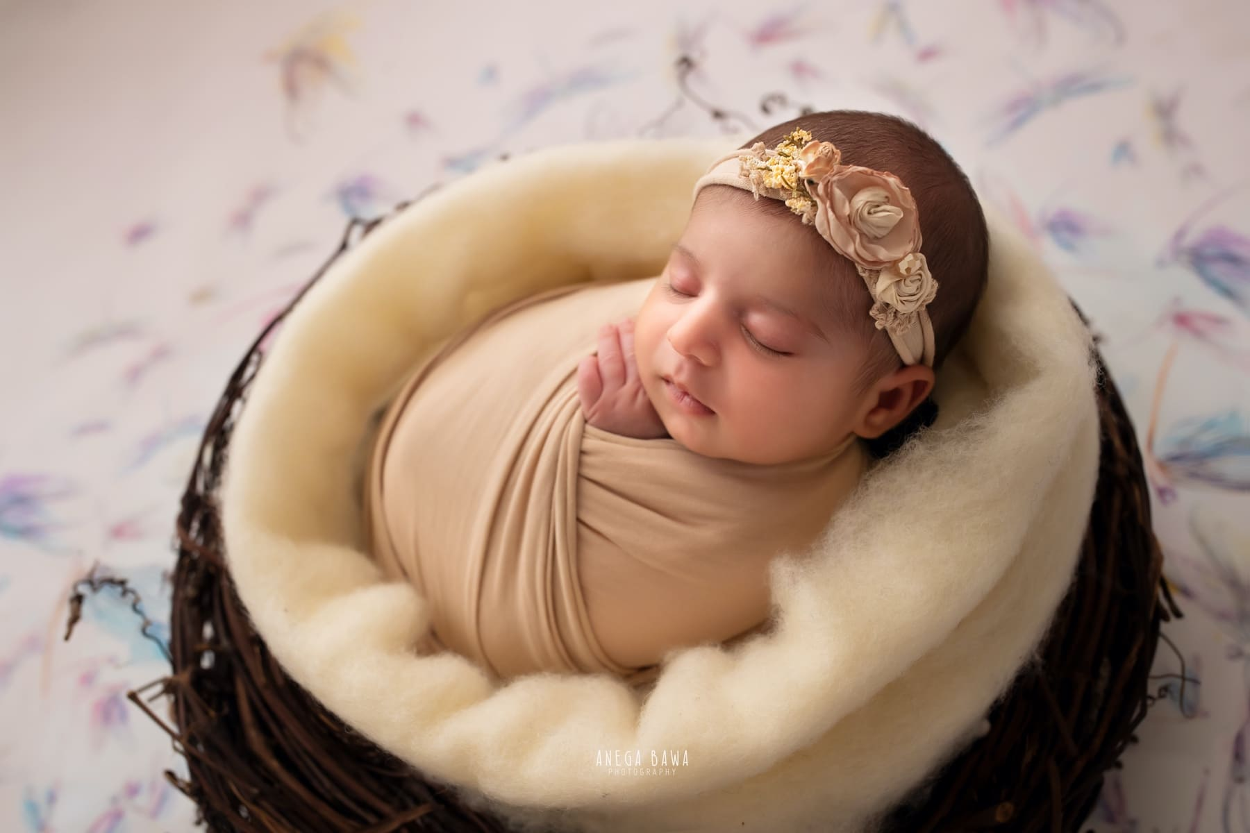 colorful dragonfly white newborn photography delhi 17 days baby girl photoshoot gurgaon anega bawa