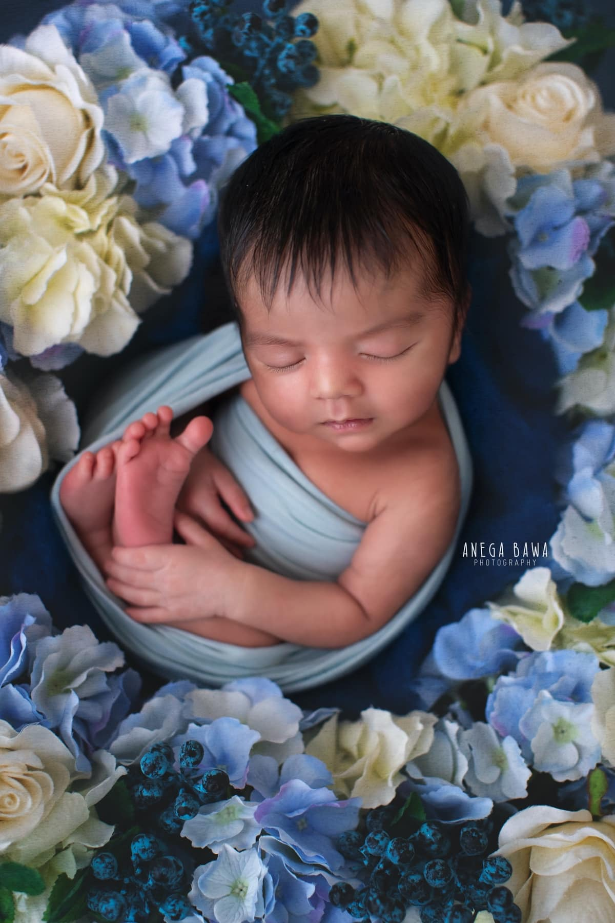 blue floral newborn photography delhi 20 days baby boy photoshoot gurgaon anega bawa