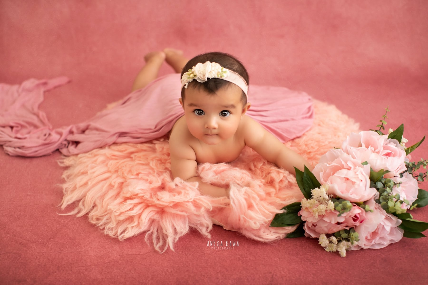pink floral baby photography delhi 4 months baby girl photoshoot gurgaon anega bawa
