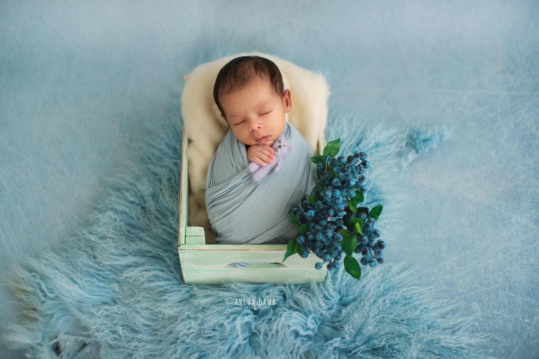 blue floral newborn photography delhi 19 days baby boy photoshoot gurgaon anega bawa