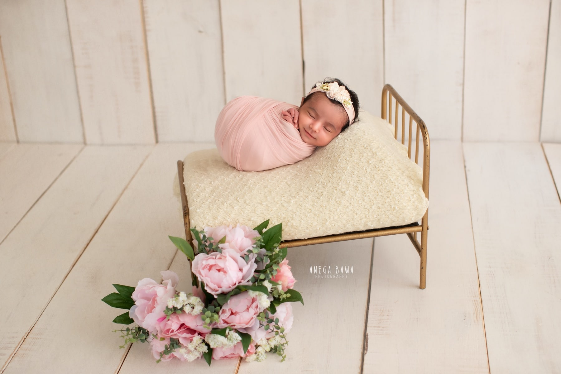 white pink floral newborn photography delhi 7 days baby boy photoshoot gurgaon anega bawa