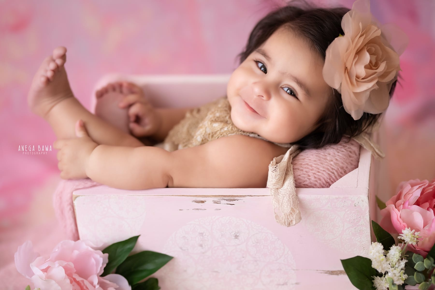 pink floral baby photography delhi 5 months baby girl photoshoot gurgaon anega bawa